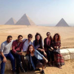 class group visiting the pyramids of Egypt