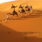 camel ride in the desert of Rabat, Morocco
