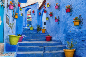 The blue city, Blue staircase and wall decorated with colourful flowerpots, Chefchaouen medina in Morocco.