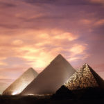 sunset with the pyramids of Egypt