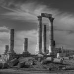 artistic photo of the ruins of Amman, Jordan in black and white