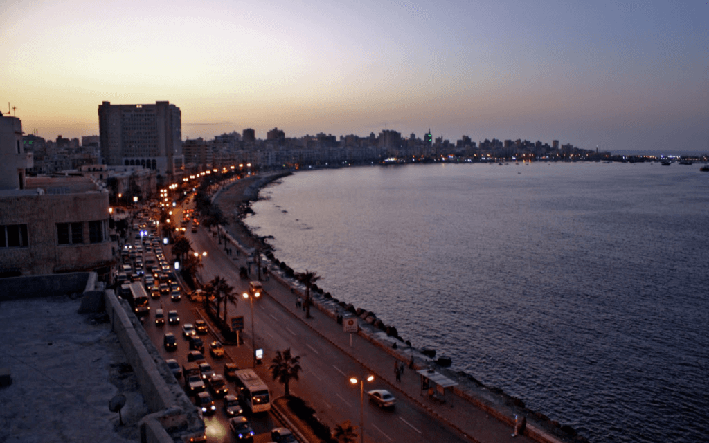 Aerial view of part of the city and the beach, Alexandria