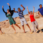 group of students having fun in Egypt
