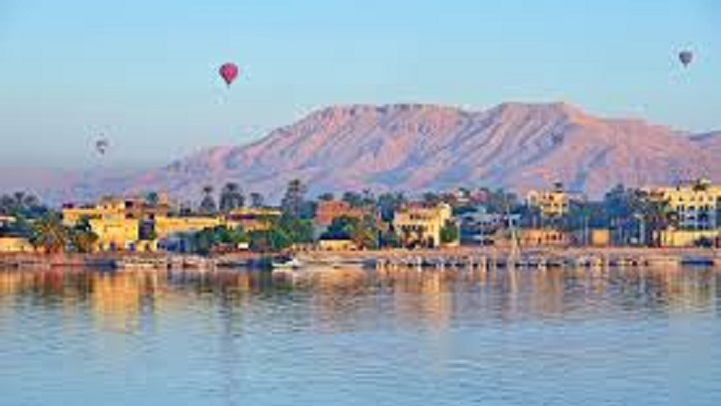View of Luxor with hot air balloons