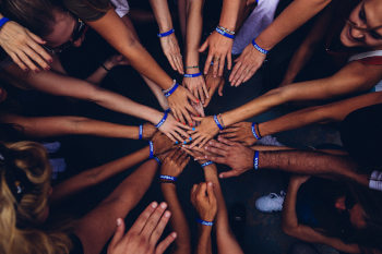 Group of hands of people